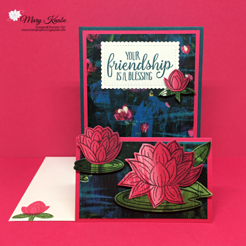 Lovely Lily Pad Stamp Set, Lily Pad Dies, Lily Impressions Designer Series Paper, So Sentimental Stamp Set, and Stitched So Sweetly Dies by Stampin' Up!