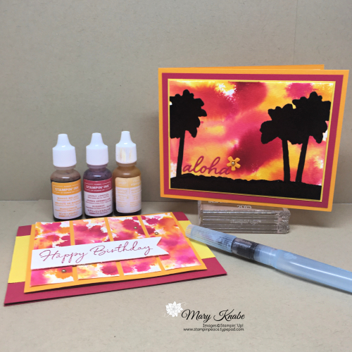 Watercolor Drip Technique with Mango Melody, Lovely Lipstick, Daffodil Delight, and In The Tropics Dies by Stampin' Up!