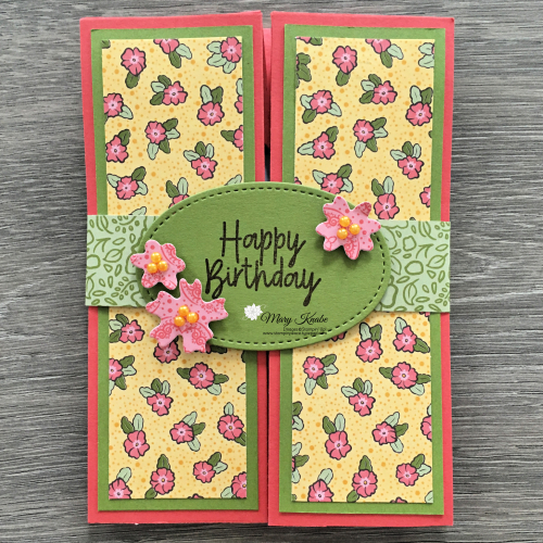 Folded Box Card with Stampin' Up! Ornate Garden DSP.