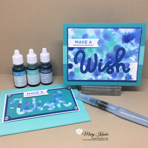 Watercolor Drip Technique with Bermuda Bay, Blueberry Bushel, & Coastal Cabana Ink Refills & Aqua Painter, and Broadway Birthday Stamp Set & Broadway Lights Dies by Stampin' Up!