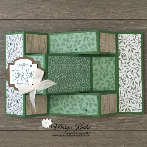 Tri-Fold Card with So Sentimental Bundle & Poinsettia Place Designer Series Paper by Stampin' Up!