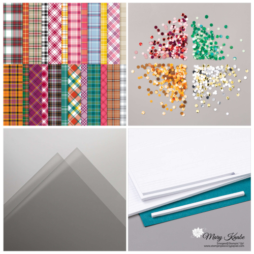 Plaid Tidings DSP, Sequins for Everything, Window Sheets, & Foam Adhesive Sheets by Stampin' Up!