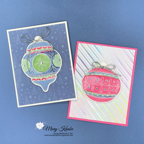 Stampin' Up! Bright Baubles with Water Painters & Reinkers - Mary Knabe