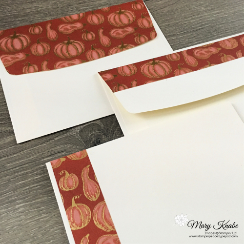 Decorating envelopes with Gilded Autumn Designer Series Paper by Stampin' Up!