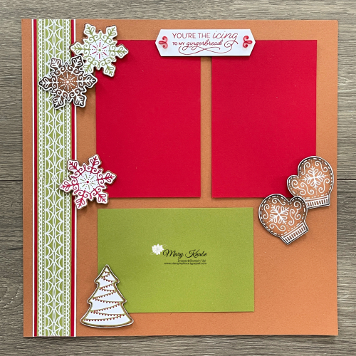 Stampin' Up! Gingerbread & Peppermint Suite Scrapbook Pages - Mary Knabe